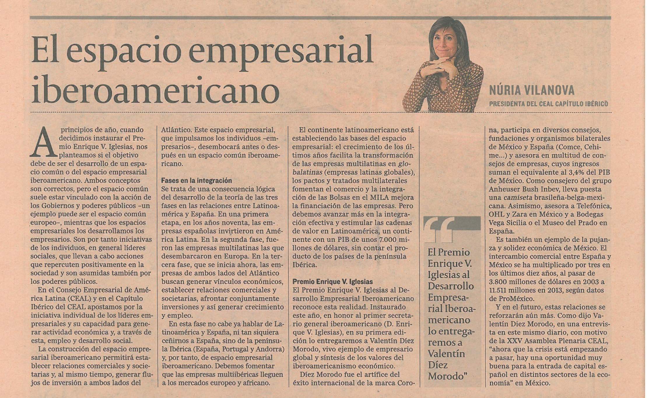El Espacio Empresarial Iberoamericano y el premio Enrique V. Iglesias